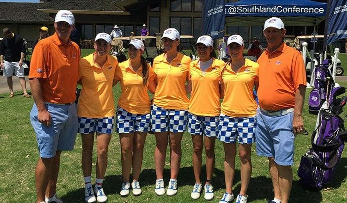 The HBU women's golf team finished tied for eighth in the country for the 2014-15 season with a 3.731 combined GPA, the Women's Golf Coaches Association (WGCA) announced on Thursday afternoon. L-R: Assistant Coach Jordan Jeffers, Caitlyn Cassity, Rachel Mulkey, Charlotte Hartshorn, Aries Ramires, Giorgia Carletti, Head Coach David Shuster. Team members not pictured are Susan Hagger and Brook Johnston.