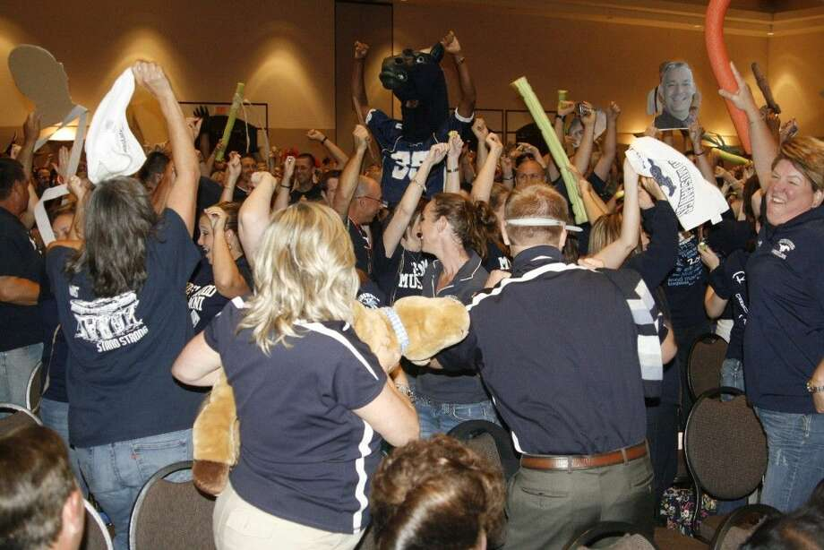 Kingwood High School staff members brought the party to Convocation on Aug. 19, 2014.