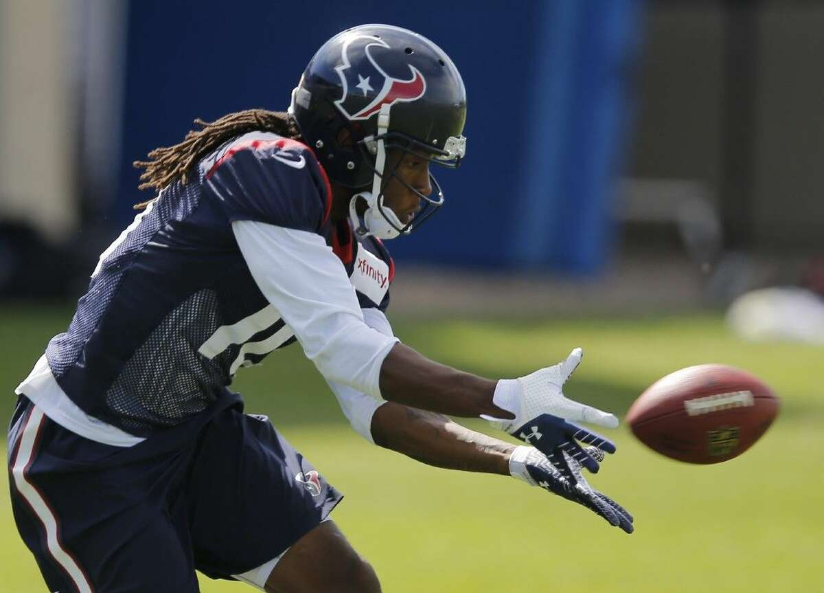 Houston Texans wide receiver DeAndre Hopkins catches a pass during a joint practice with the Denver Broncos on Thursday.
