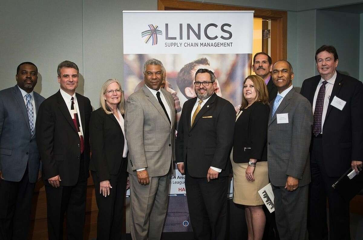 Professionals from international business, logistics, and maritime recently attended a reception and panel discussion at the Federal Reserve Bank of Dallas, Houston Branch. (left to right) Rommell Williams, Houston Area Urban League; Rick Blasgen, Council of Supply Chain Management Professionals; Leslie Backus, Broward College; Judson Robinson III, Houston Area Urban League; John Moseley, Port of Houston Authority; Margaret Kidd, San Jacinto College; James Blount, San Jacinto College; Eric Goodie, Houston Area Urban League; and Dan Cassler, University of Houston. Submitted photo