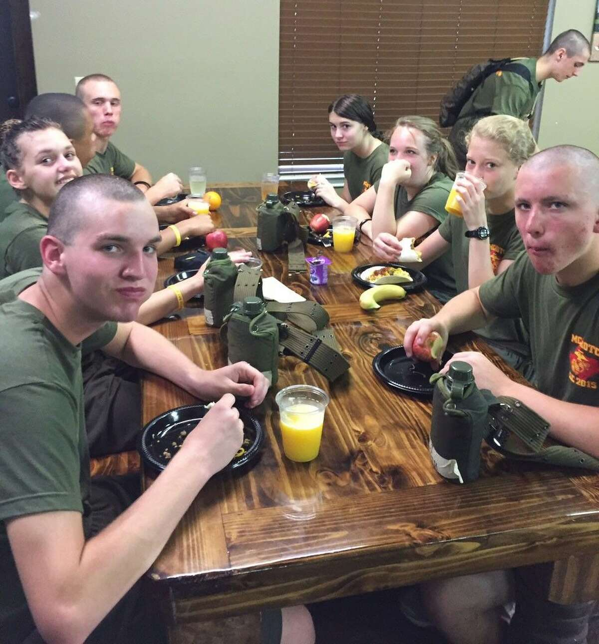 Marine Corps Junior ROTC cadets at chow during the Cadet Leadership Camp at New Braunfels, Texas.