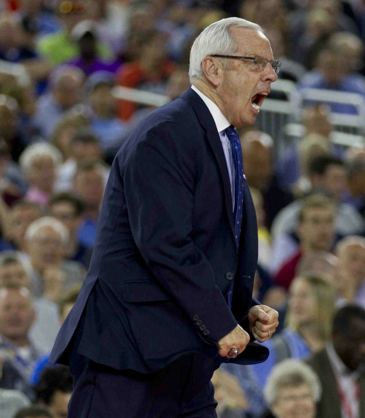 North Carolina head coach Roy Williams reacts to a call during the first half of an NCAA Final Four semifinal college basketball game Saturday, April 2, 2016, at NRG Stadium in Houston. If Williams wins Monday against Villanova, he will be one of six coaches in NCAA Men's Basketball history to win three or more national titles.