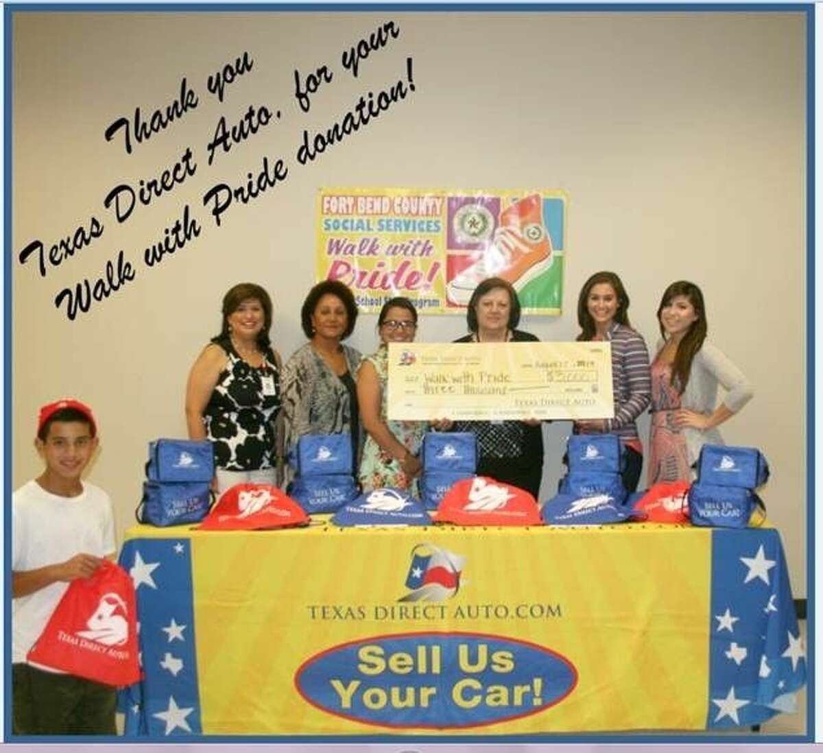 Texas Auto Direct presents a 3,000 check to the Fort Bend County Department of Social Services for its annual Walk with Pride shoe program.