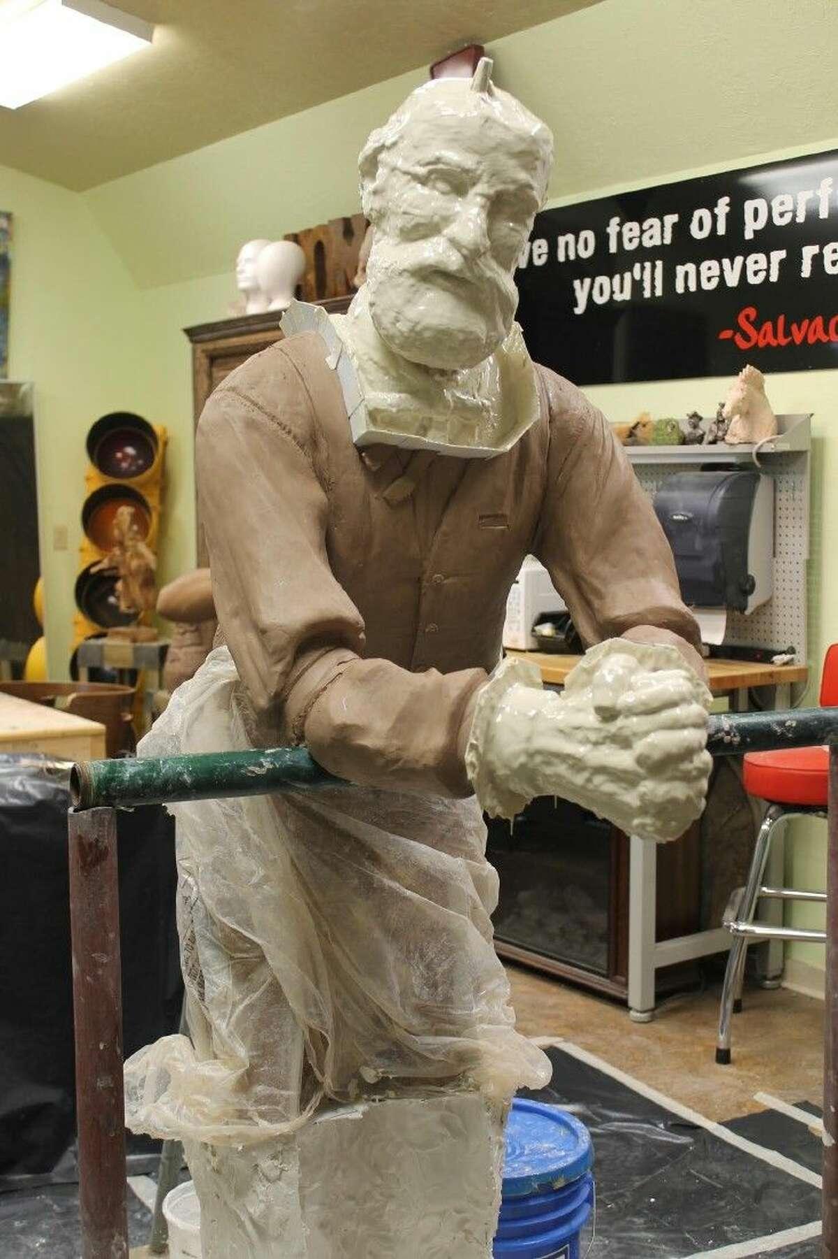 The Ken Walden sculpture is a work in progress.