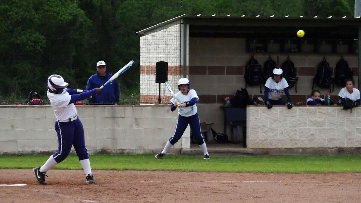 Dayton varsity freshman Sydnee Hebert connects in the fourth inning at home against Humble, Friday, April 1. Hebert hit a three-run homer in the second inning of the Lady Broncos' 11-0 April Fools Day shutout.
