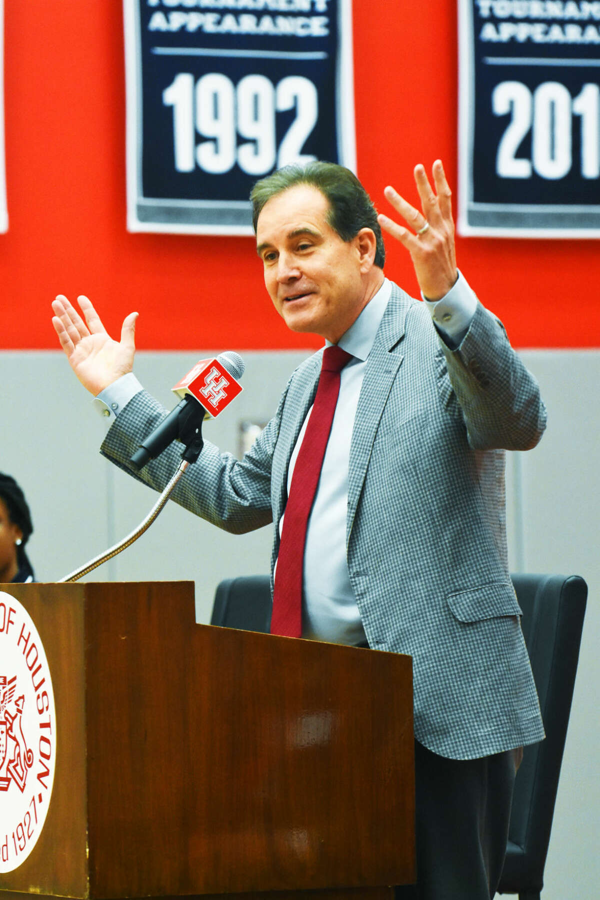 University of Houston alum Jim Nantz was on hand to help dedicate the new Guy V. Lewis Development Facility Sunday, April 3, 2016. Nantz believes the practice facility is an important step towards putting Houston back in the national spotlight.