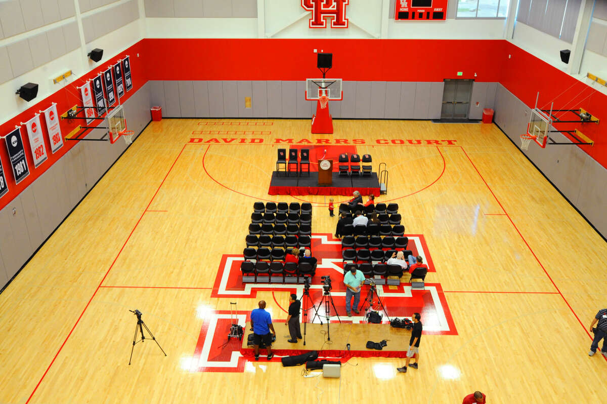 The practice floor of the Guy V. Lewis Development Facility, decked with chairs Sunday, April 3, 2016, to accommodate the donors, alumni and guests on hand for the dedication.