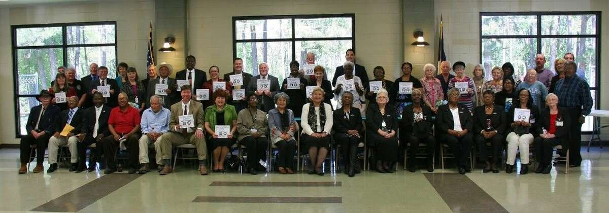 Over 50 County, City and Alabama-Coushatta Tribe of Texas Officials from the Deep East Texas Council of Governments Board joined Volunteers for this group photo commemorating April 5 as Mayor and County Officials Volunteer Recognition Day. Many are displaying their