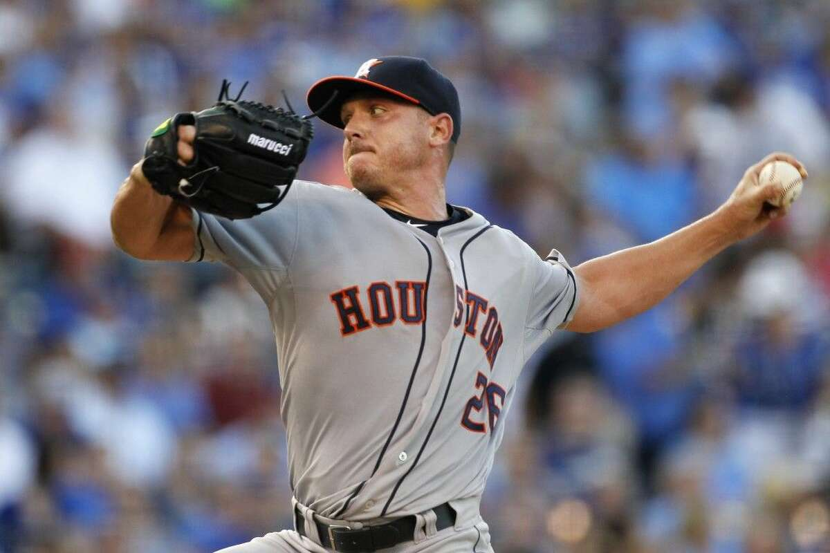Houston Astros pitcher Scott Kazmir throws in the first inning against the Kansas City Royals in Kansas City, Mo., Friday.