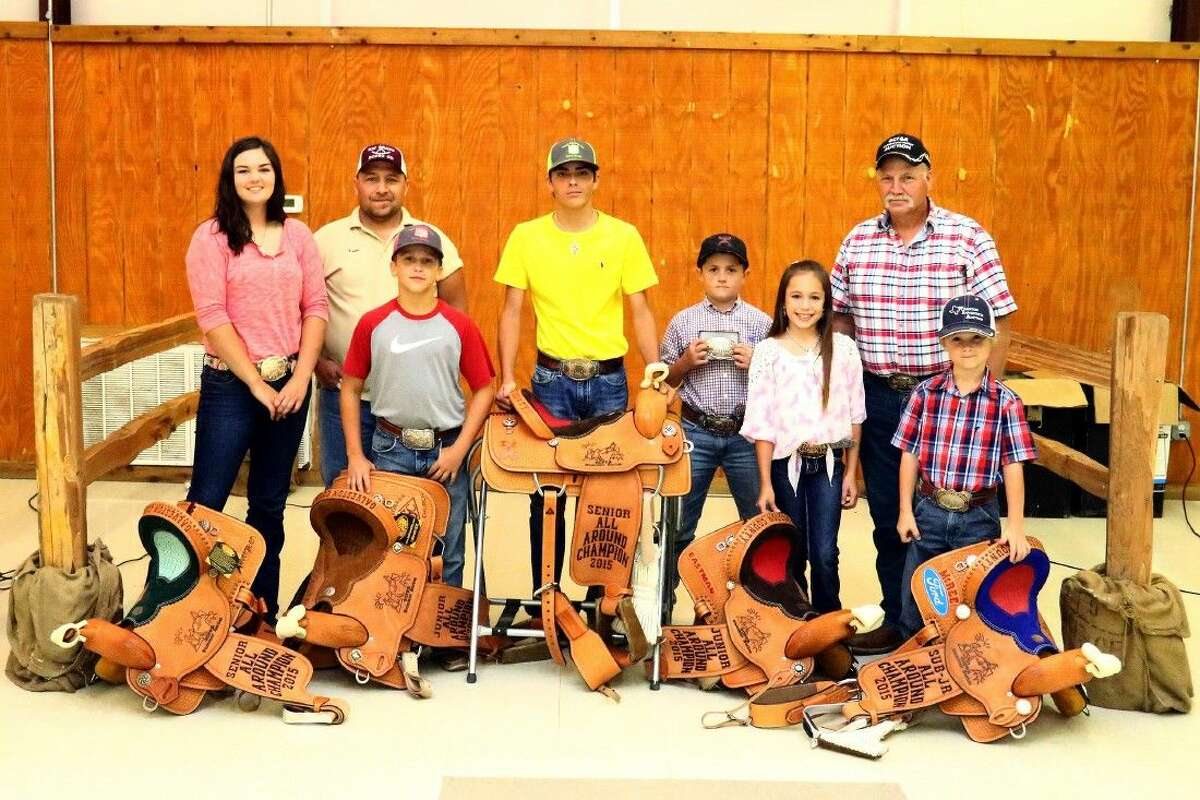 Winners with saddles, from left to right: Magan Cotham, Kevin Graber, Bryce Belknap, Tanner Tomlinson, Slade Watson, Kyla Casey, Phillip Alexander and Kolt Watson.