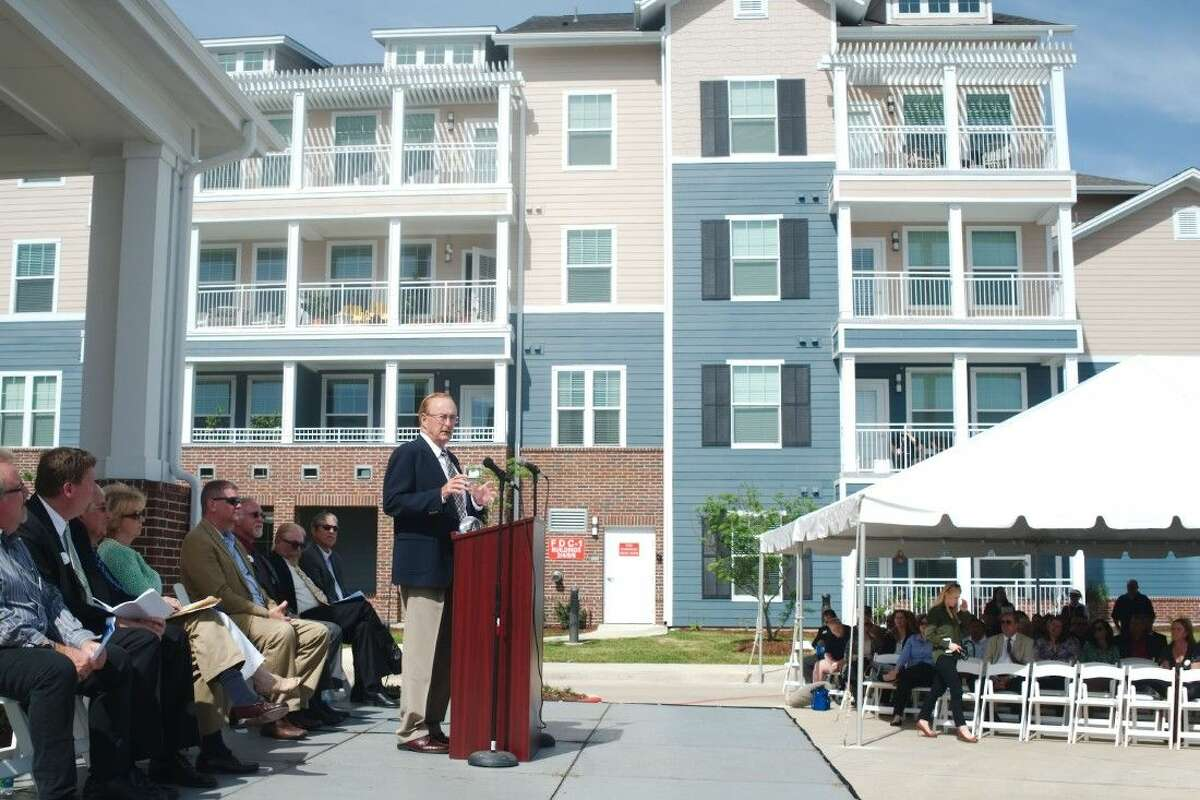 League City Mayor Pat Hallisey speaks during the dedication of The Crossings community for active older adults during a ceremony Thursday, April 7.