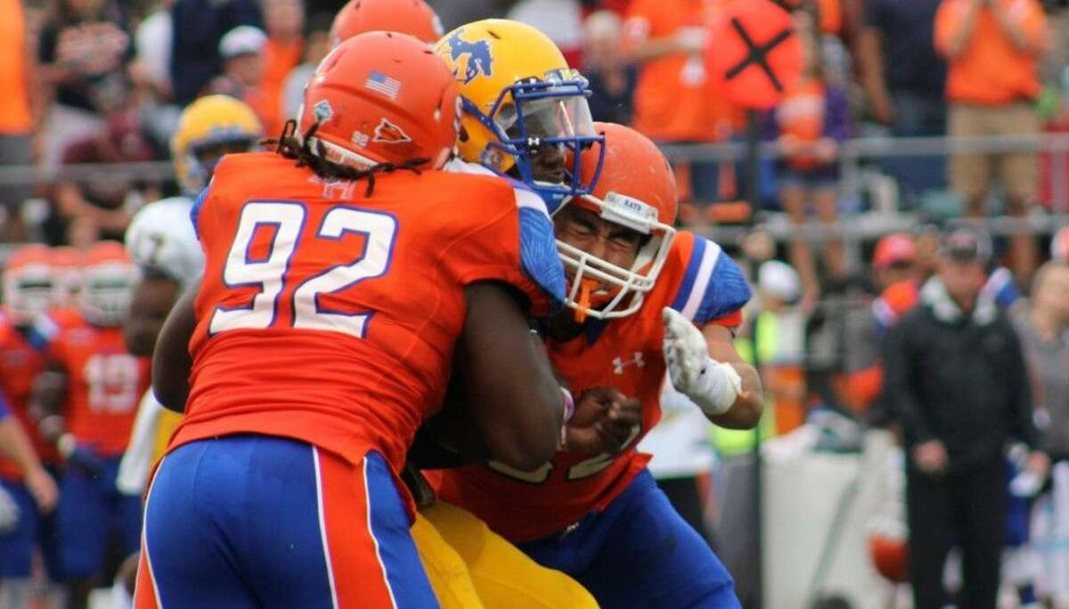 Sam Houston State defensive tackle P.J. Hall was named the conference's top freshman a year ago.