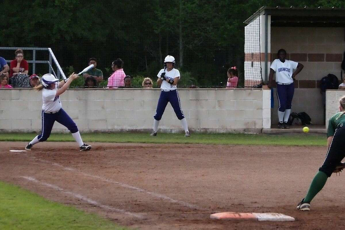 Ally McKinney singles in the bottom of the third with a grounder to left field and makes second base on a throw, April 8, 2016.