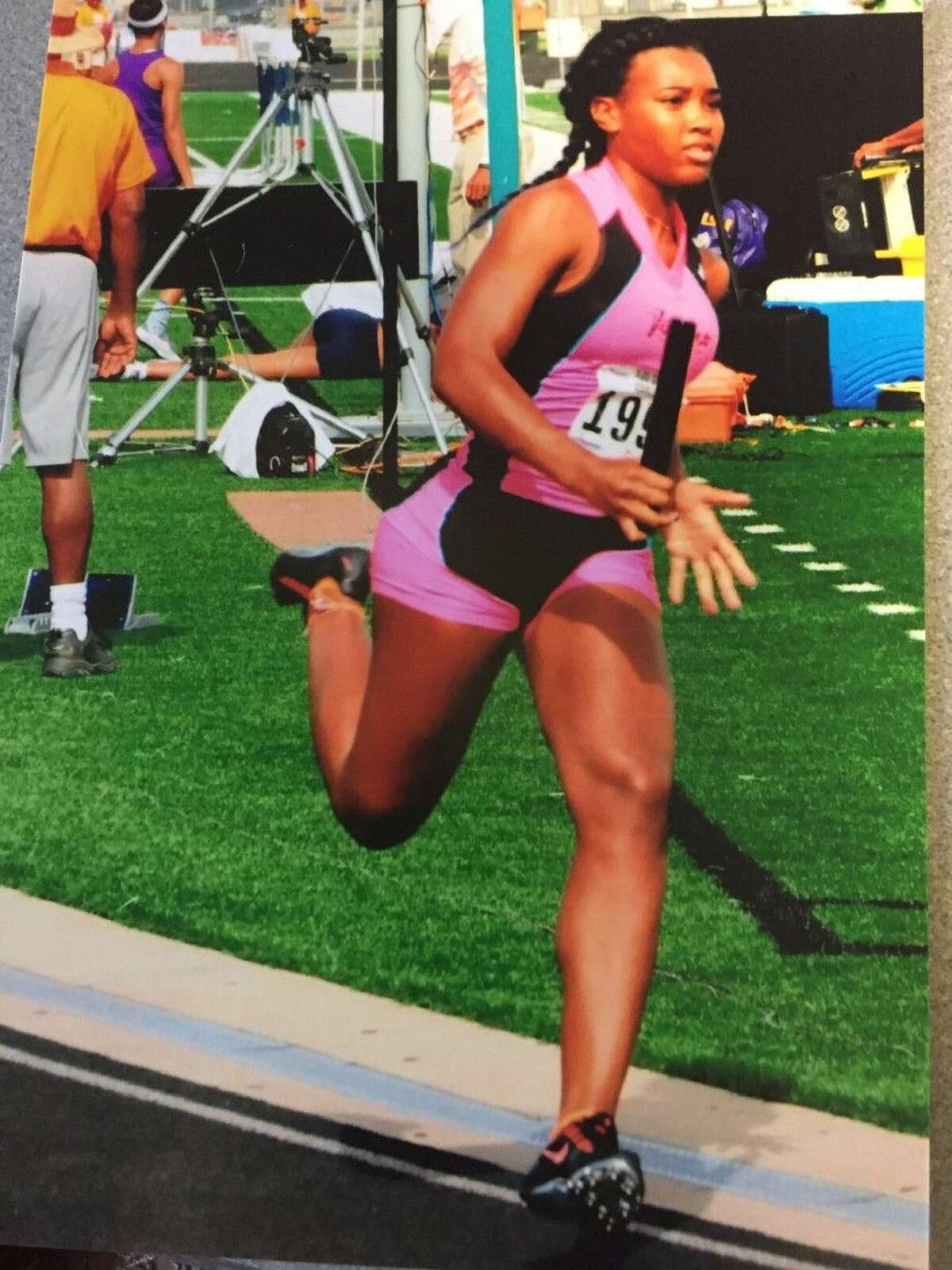 Dawson track athlete Paige Kimble is competing at a Junior AAU track and field event in Virginia.