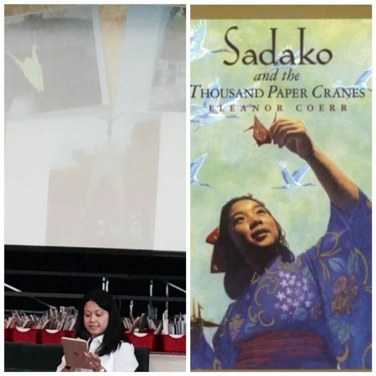 ROES teacher Pia de Leon, at left, describes lessons she learned in a trip to Japan to enhance her teaching skills. De Leon's fourth-graders study the book,