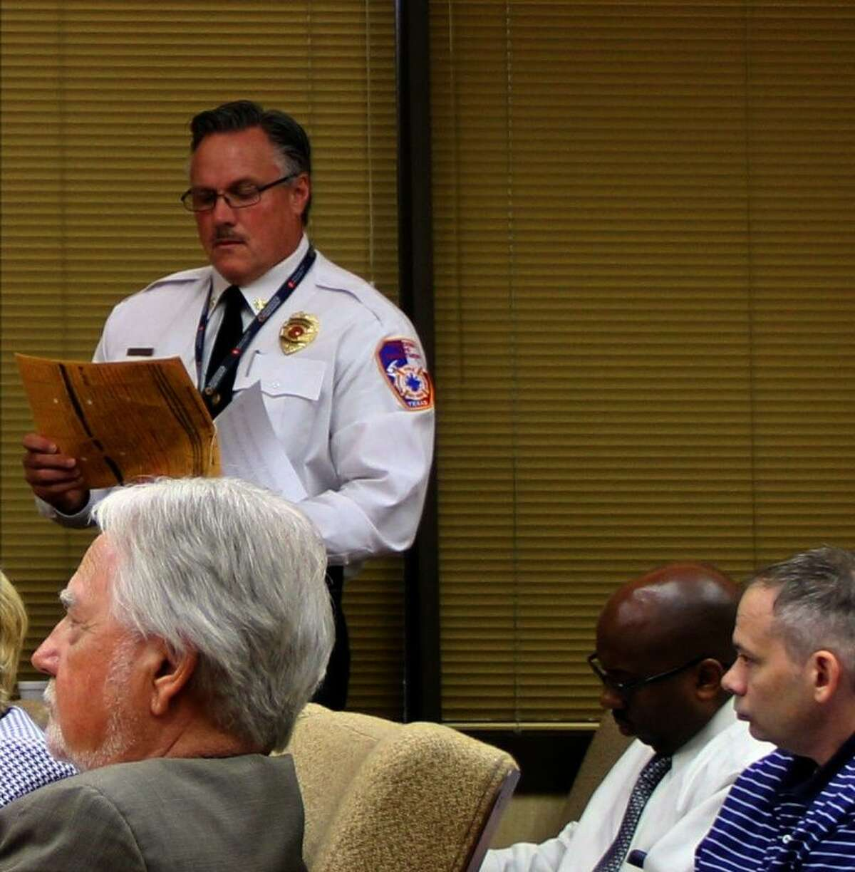 Pasadena Fire Chief Lanny Armstrong answers questions during a recent budget workshop.