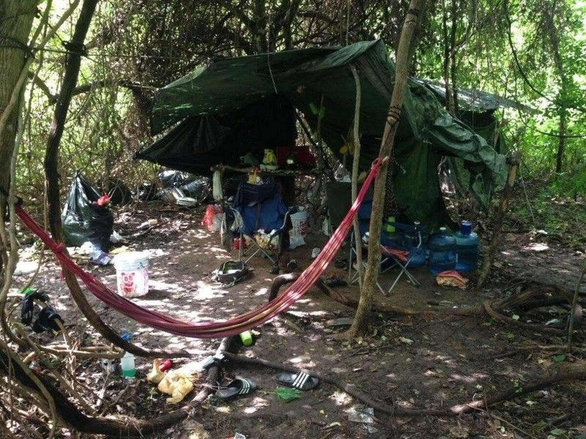The makeshift campsite of the suspects who cultivated a $10 million marijuana grow in a Sugar Land area nature conservancy.