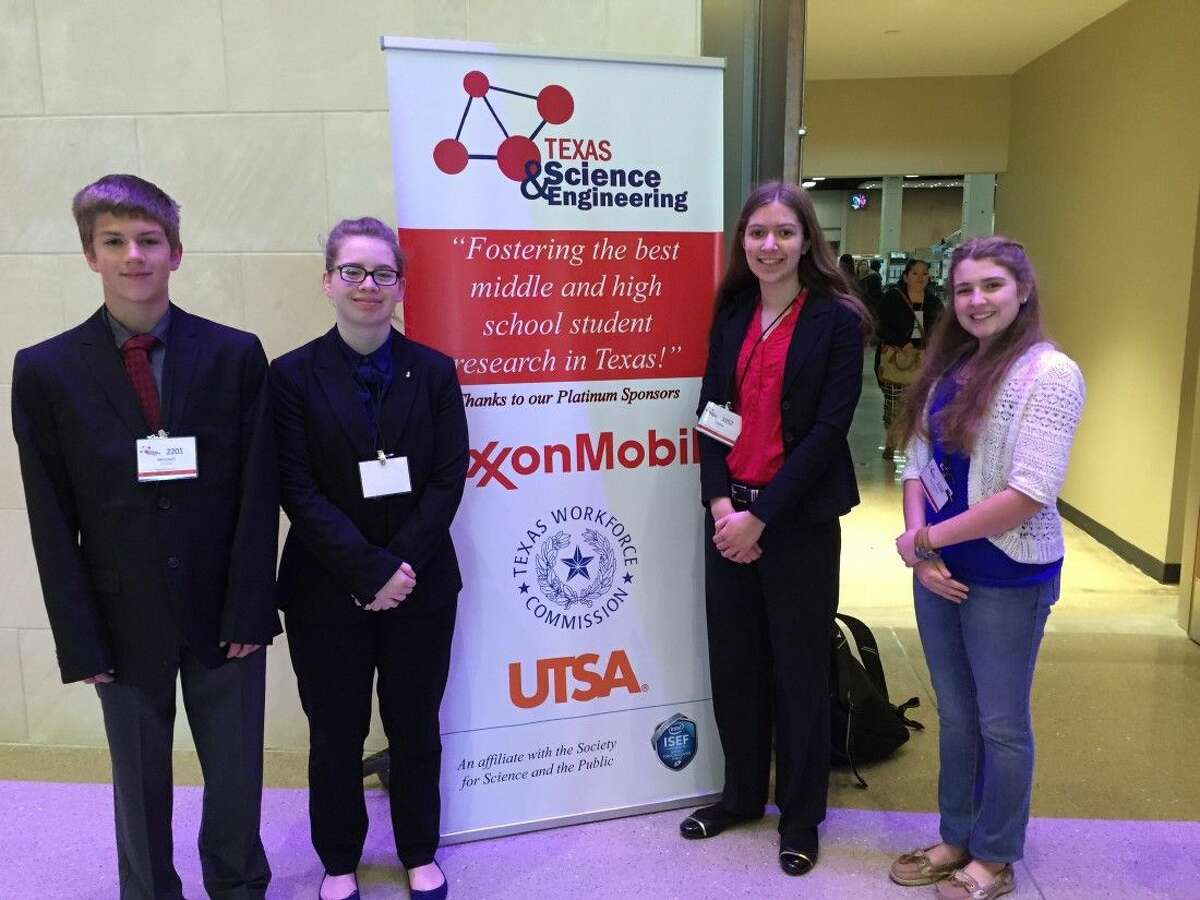 Mitchell Traweek, Katherine Hinchley, Sophia Ebel and Annamarie Mader at the Texas Science & Engineering Fair.