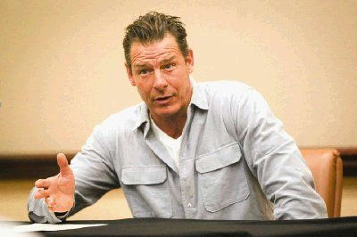Keynote speaker Ty Pennington performs a Q&A with media during the Realtor and Builder Awards Event on Friday at The Woodlands Resort & Conference Center.