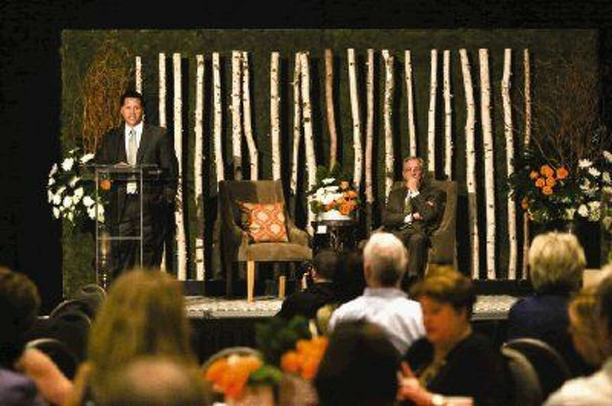 Heath Melton, of The Woodlands Development Company, speaks during the Realtor and Builder Awards Event on Friday at The Woodlands Resort & Conference Center.