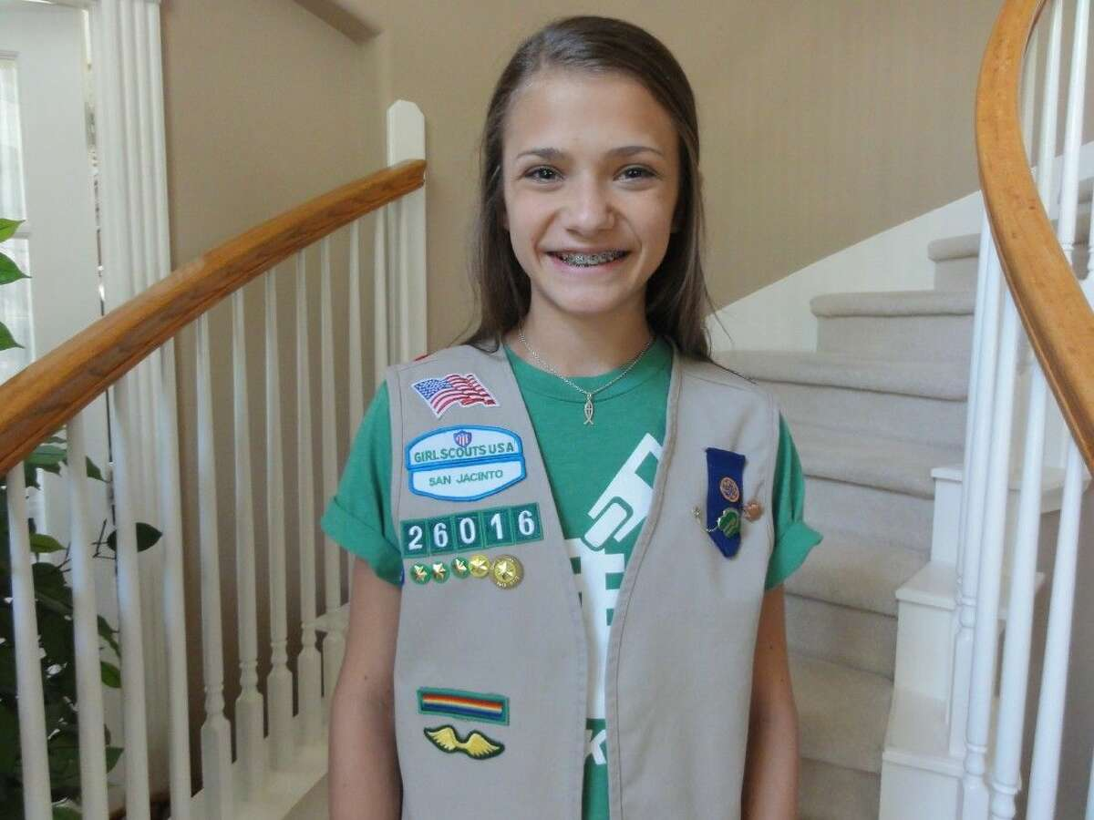 Cadetter Girl Scout Caroline Bizarro earned her Silver Award for her Life Book project that she created and brought to the children at Kidz Harbor in Liverpool, Texas, where she helped them to create their own Life Book.