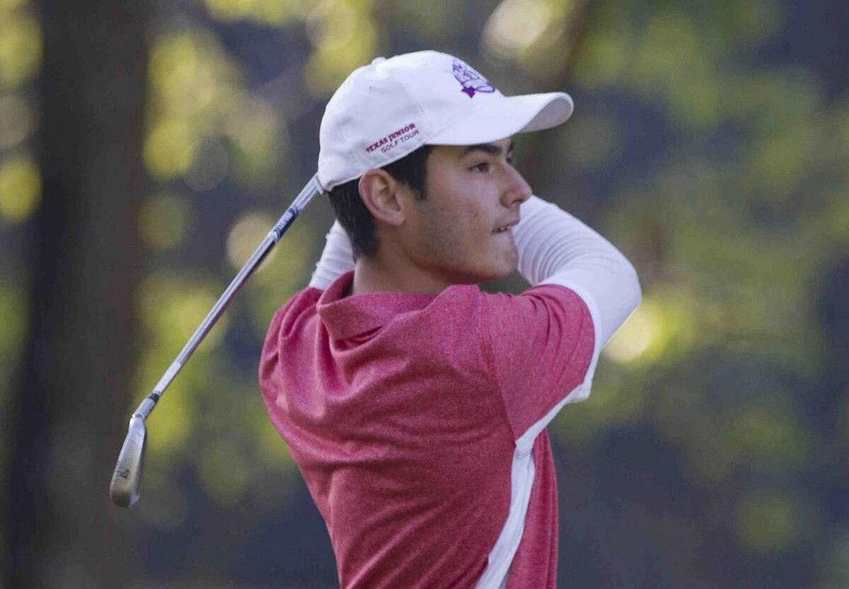 The Woodlands' Arturo Anzaldua tees off the 1st hole during the final day of the District 16-6A boys golf championship at High Meadow Ranch Golf Course Tuesday in Magnolia.