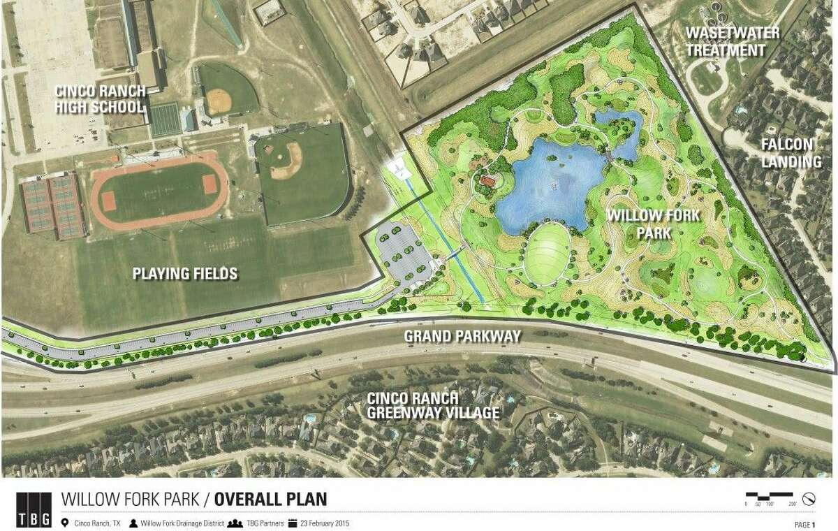 Willowfork Park (lower right corner) is the WFDD's newest passive-use park, scheduled for completion in February 2016. Jogging trails, a lake and a disc golf course are among the coming attractions.