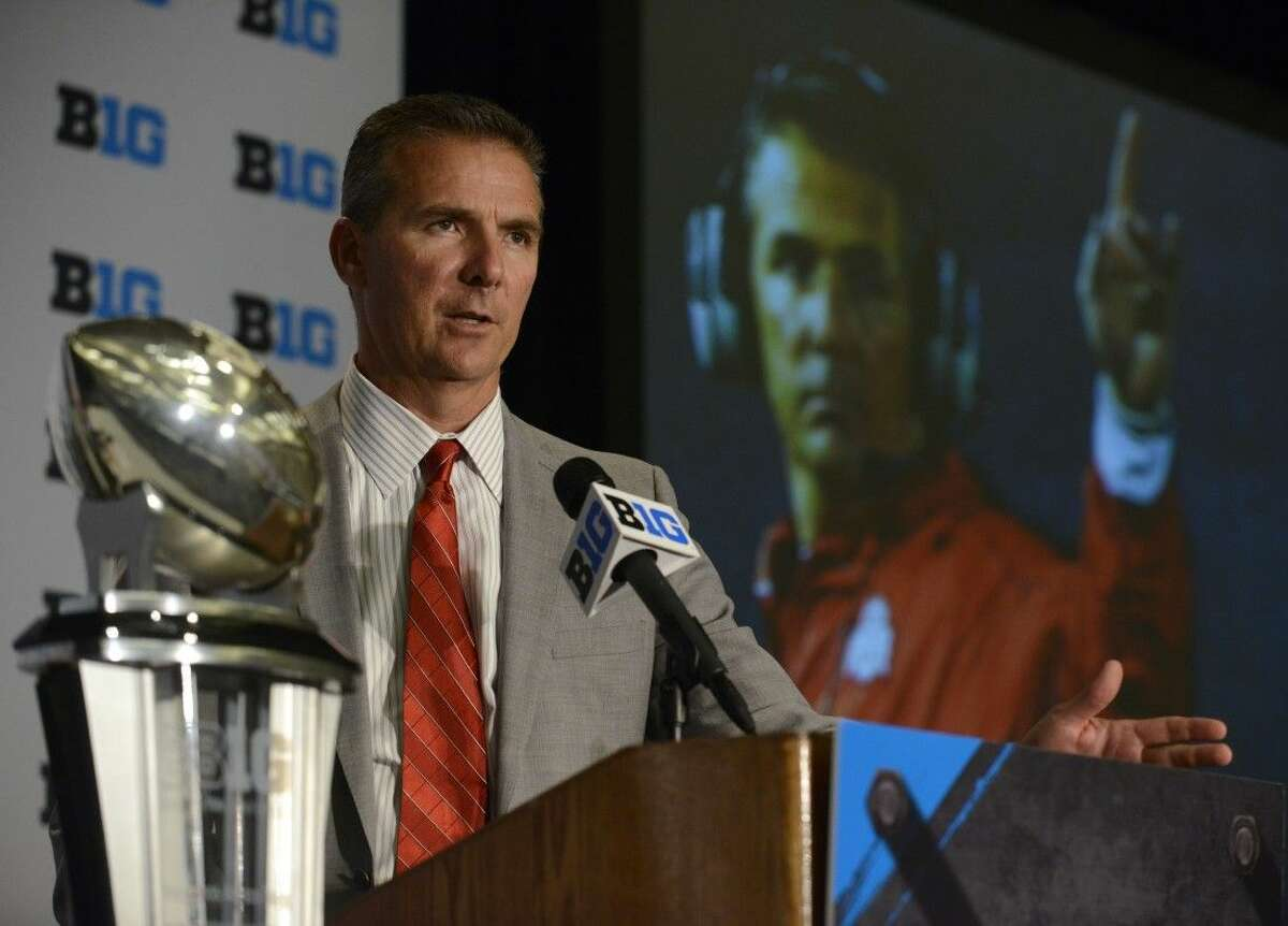 Ohio State head coach Urban Meyer speaks to the media during the NCAA college Big Ten Football Media Day Thursday in Chicago.