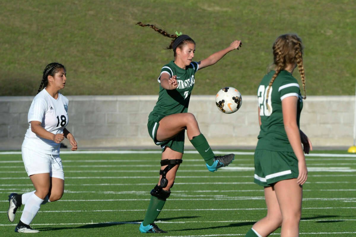 Stratford's Olivia Siciliano controls a ball against Austin during the Lady Spartans' bi-district playoff victory. Stratford defeated Hutto 2-1 on the road to win the Region III-5A area championship. Gracie Jones and Sarah Nicholas scored during the first half, with Sydney Lawrence adding an assist. The Lady Spartans play Port Neches-Groves in the regional quarterfinals.