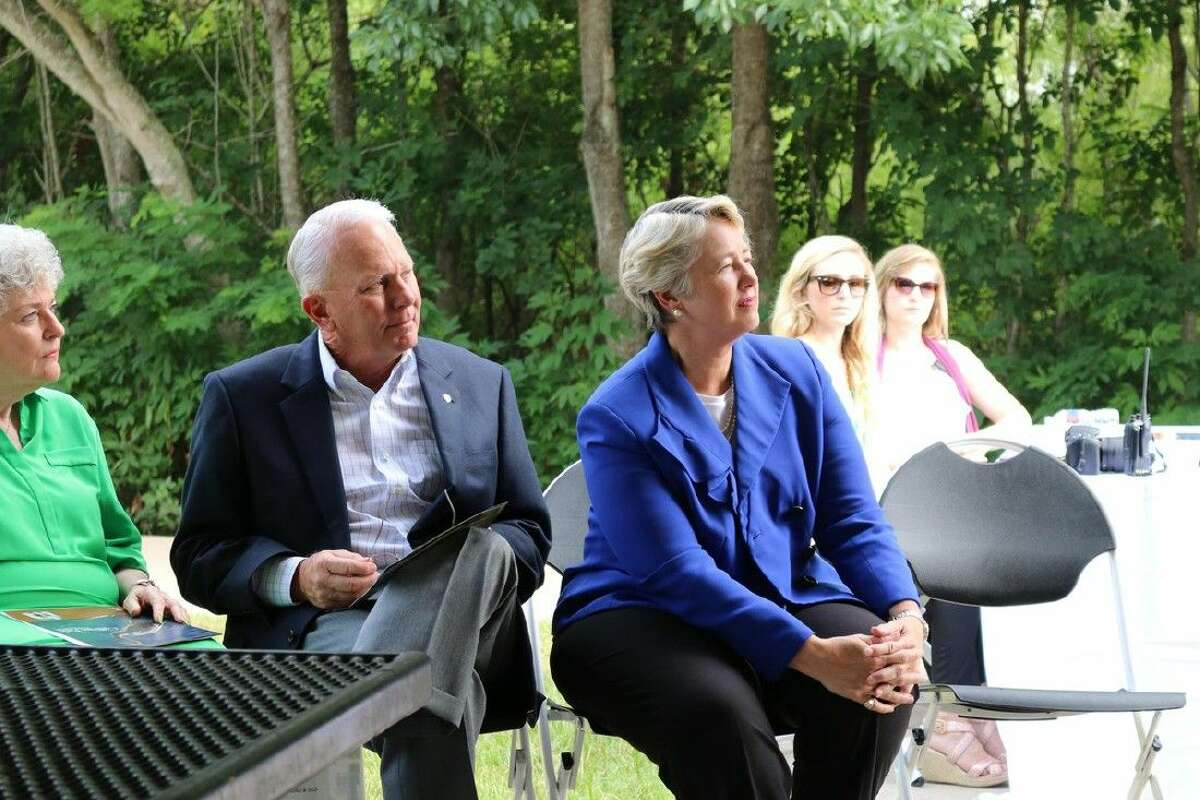 From left, Cullinan Park Conservancy President Ann Hamilton, Sugar Land Mayor James Thompson and Houston Mayor Annise Park at the July 27 celebration of the project that seeks to develop the area.
