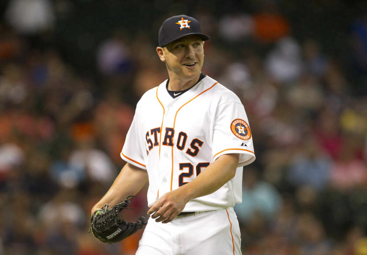 Houston Astros pitcher and former Cy Falls player Scott Kazmir smiles as Cy Falls fans cheer for him during an MLB game Thursday.