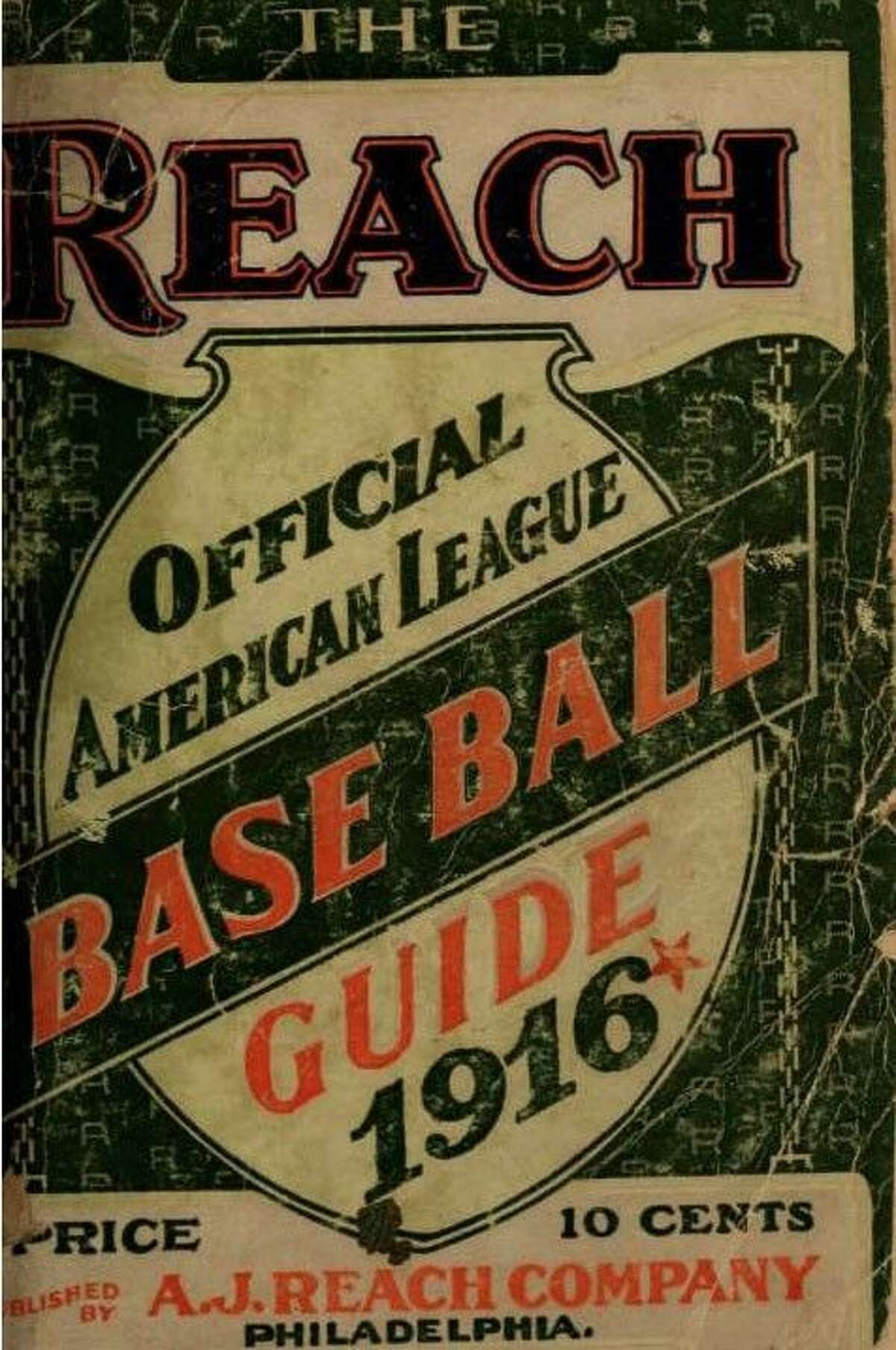 Shown is the front cover of the 1916 Reach Baseball Guide.
