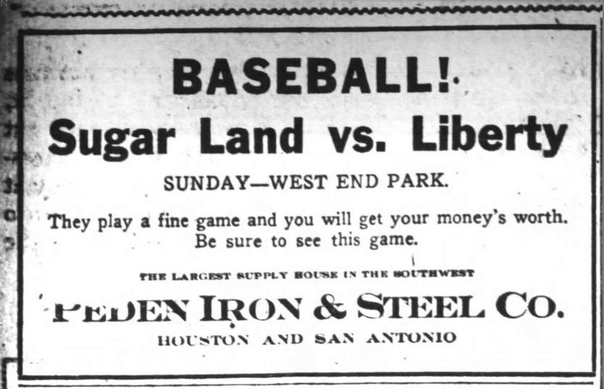 This advertisement appeared in the Oct. 31, 1915 edition of The Houston Post promoting the championship series between the Sugar Land Blues and the team from Liberty.