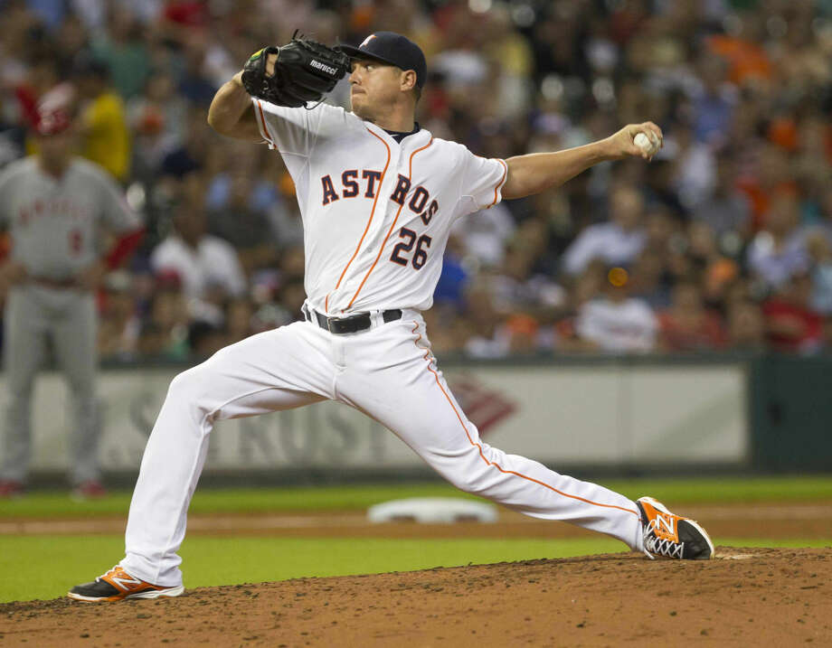 Houston Astros pitcher and former Cy Falls player Scott Kazmir pitched 7 2/3 scoreless innings during a 3-0 Astros victory against the Los Angeles Angels, July 30 at Minute Maid Park. Photo: Jason Fochtman