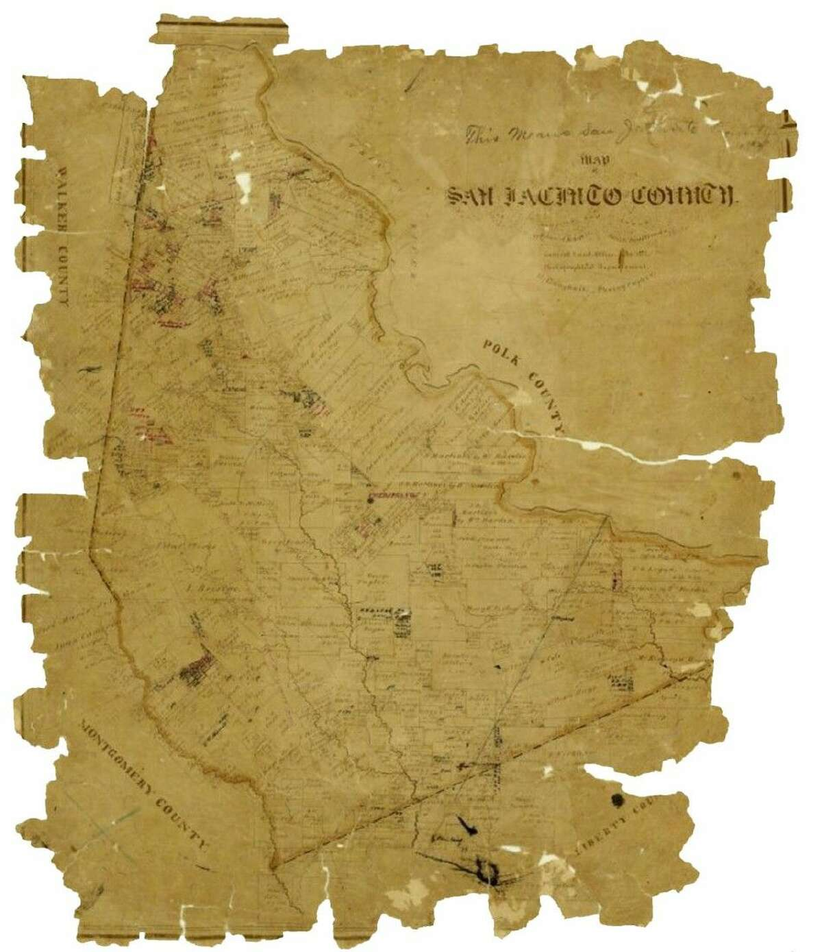 This image is of a San Jacinto County map drawn in 1872 and kept in the collection of the Texas General Land Office.