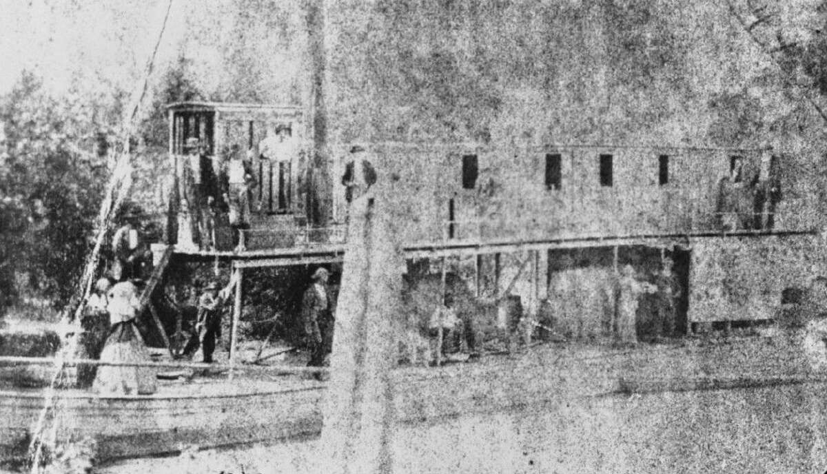 This historic photo shows one of the steamboats that traveled from Galveston to Magnolia Landing on the Trinity River in the 1870s.