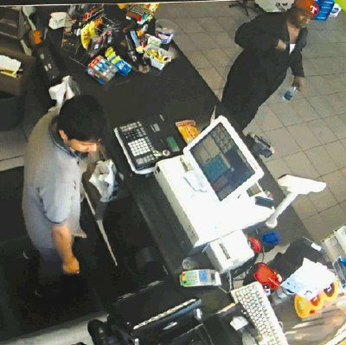 La Porte police are looking for two suspects involved in a theft at a gas station July 14.