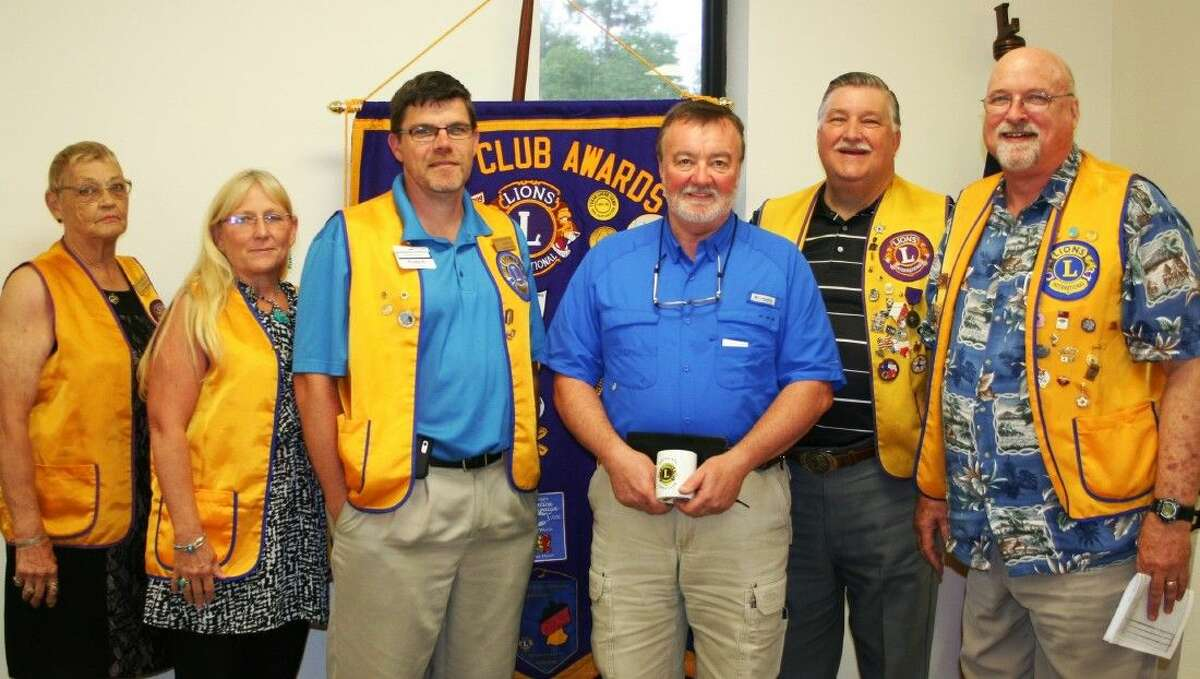 City of Cleveland Director of Public Works Rod Hainey (third from right) spoke to members of the Cleveland Lions Club on Tuesday, July 22, where he was welcomed by members Estelle Trevathan, Terrie Manners, President Thomas Higgins, Mike Penry and Tim Holder.