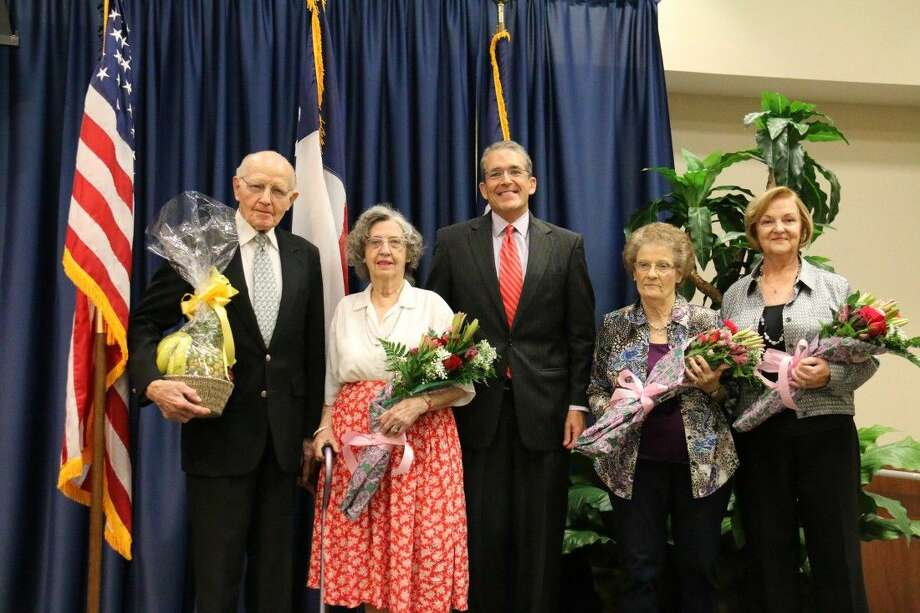 Pictured, from left to right, are Chaplain Jesse Hart; Maudie Barton; Tom Jackson, CEO, TRMC; Ruth Hardamon; and Pat Simms. Photo: Submitted