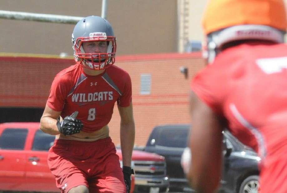Splendora's Toby Clark covers a receiver during practice on Wednesday at Splendora High School.