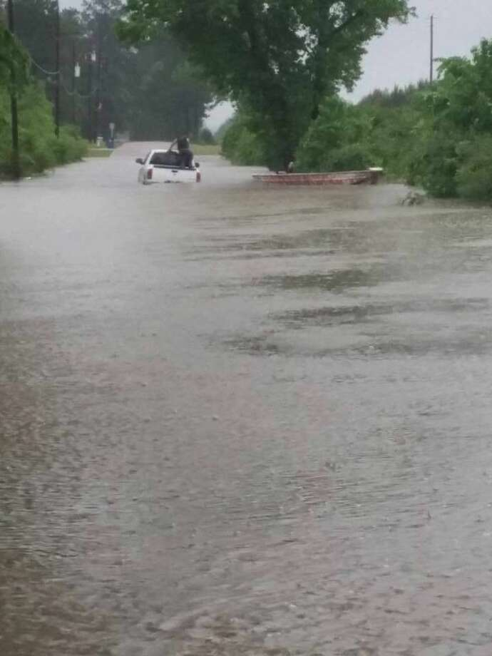 First St. in Splendora following last Monday's rain.