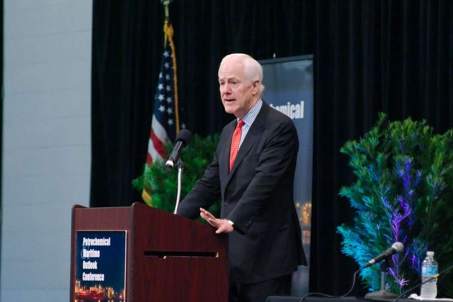 US Senator John Cornyn speaks during the Petrochemical Maritime Outlook Conference Thursday. Photo: Staff Photo By Kirk Sides