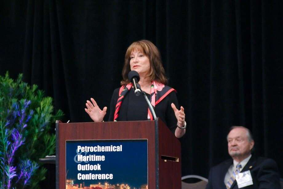 Port of Houston Authority Chairman Janiece Longoria speaks during the Petrochemical Maritime Outlook Conference Thursday. Photo: Staff Photo By Kirk Sides