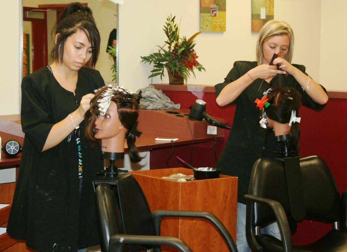 Students in the Splendora ISD Cosmetology program are given the opportunity to practice their skills on mannequins, as well as real clients in the salon.