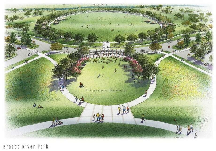 An artist's rendering of Sugar Land's future Brazos River Park Phase II and adjacent festival site, one of the two bond propositions passed by voters last November. Photo: Image Courtesy City Of Sugar Land
