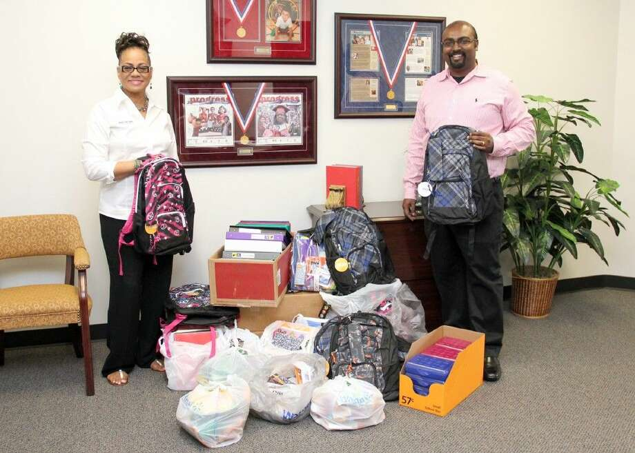 Photo courtesy Pearland ISDTexas First Bank donated more than 240 school supplies and backpacks to Pearland ISD. Photo: Courtesy Pearland ISD