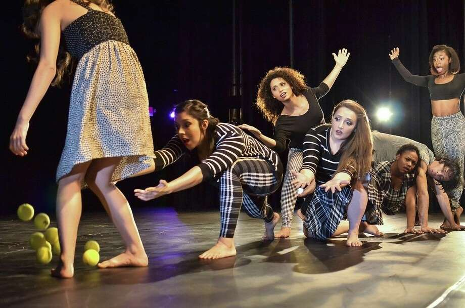 """San Jacinto College students rehearsing for """"Le Balon Di Fluf"""" include, from left, Cori Dalton, Bethany Garcia, Courtney Locke, Taylor Brooks, Tiara Blake, Alejandromagno Barrasa, and Tyler Archie. Submitted photo by Jennifer Salter."""