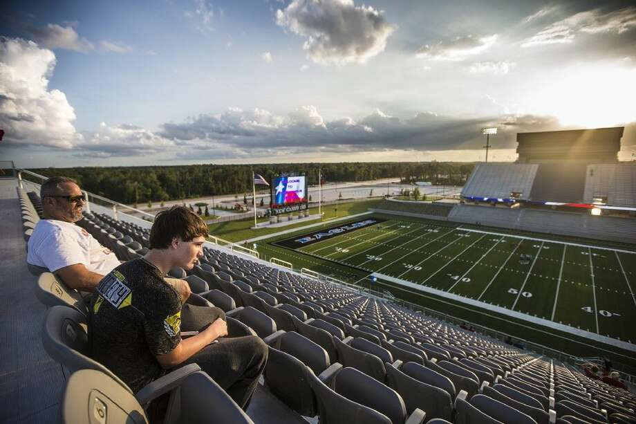 HCN photo by Andrew BuckleyRobert and Joseph Amigliore check out the view from the top row during an open house at Texan Drive Stadium on Tuesday. The facility is located at 21360 Valley Ranch Parkway in Porter. Photo: ANDREW BUCKLEY