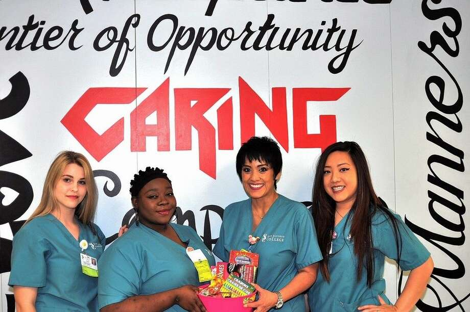 Pictured (left to right) are Emily Parker, Ashley Okhuozagbon, Venus Penny, and Angela Nguyen were a part of a group of San Jacinto College students who performed random acts of kindness as their service learning projects throughout the Spring semester. Submitted photo.