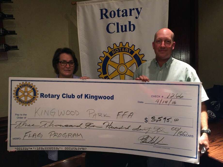 From left, Tommie Buscemi, President of Kingwood Rotary Club and Kevin McCarty, the Kingwood Park FFA teacher.